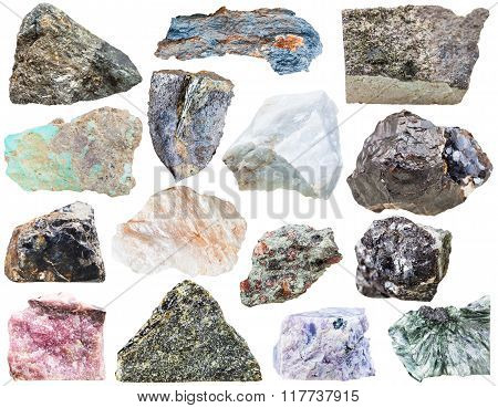 Collection Of Natural Mineral Rock Stone Isolated