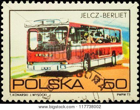 Bus Jelcz Berliet On Postage Stamp