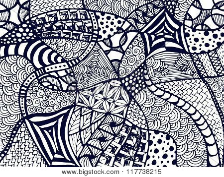 Zentangle Background Tangled Ornament On White 2