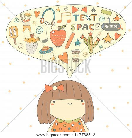 Postcard with girl