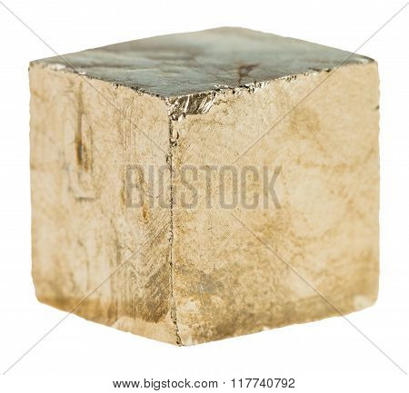 Cube Of Pyrite Crystal Isolated On White