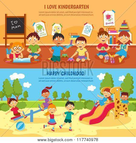 Kindergarten banner set