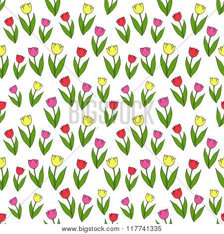 Vector seamless pattern with tulips.
