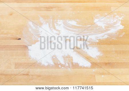 Pile Of Wheat Flour On Wooden Table