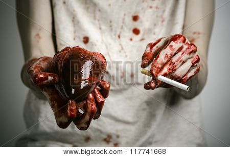 Social Advertising And Tobacco Control: Bloody Hand Holding A Cigarette Smoker And Bloody Human