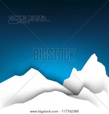 flat white mountain, paper concept, night sky