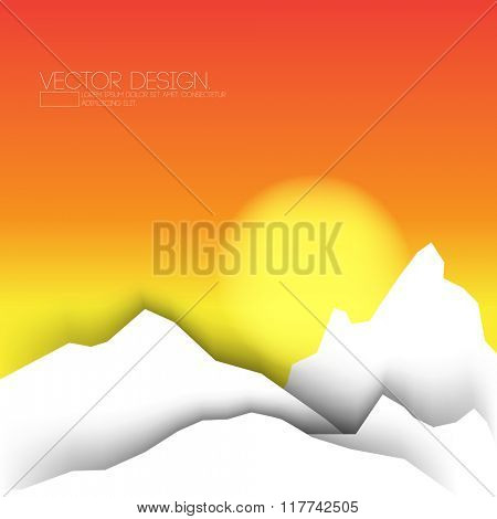 flat white mountain, paper concept, sunset