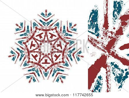 Vector Snowflake Styled With Union Jack Flag Colors