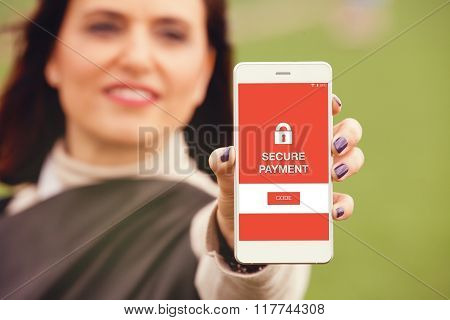Secure payment message in a mobile phone screen.