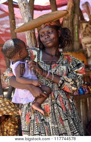 Herero Woman With Baby, Namibia