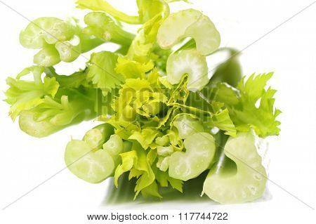Vegetables. Celery on the table
