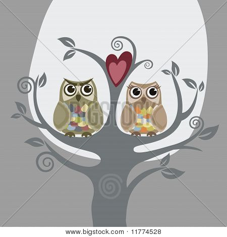 Two Owls And Love Tree.eps