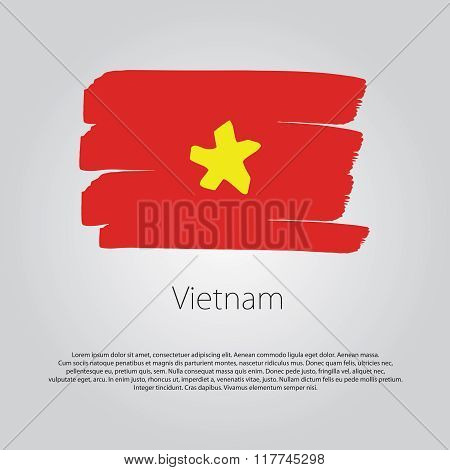Vietnam Flag With Colored Hand Drawn Lines In Vector Format