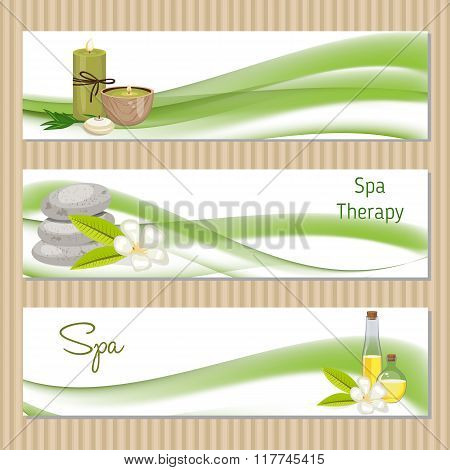 Set Of Banners With Spa Theme Object.