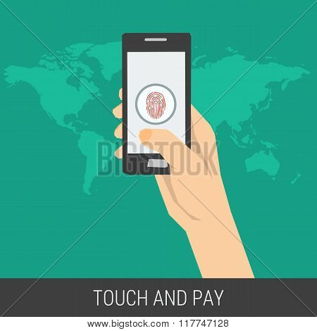 Illustration Of Mobile Payment Using Fingerprint