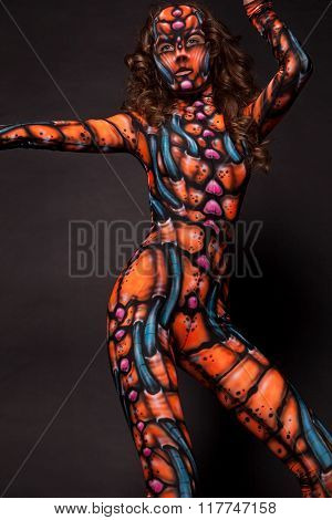 Freak girl in the aerography costume posing