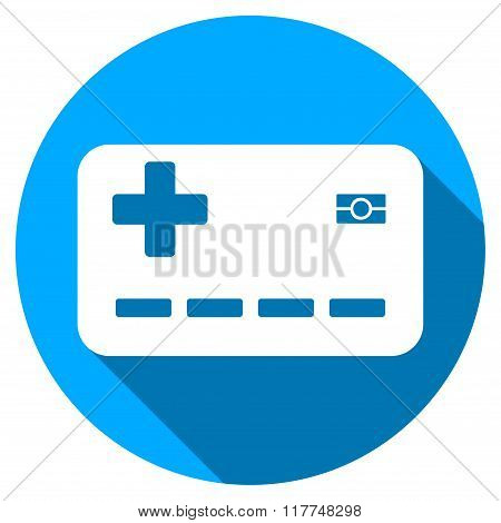 Medical Insurance Card Flat Round Icon with Long Shadow