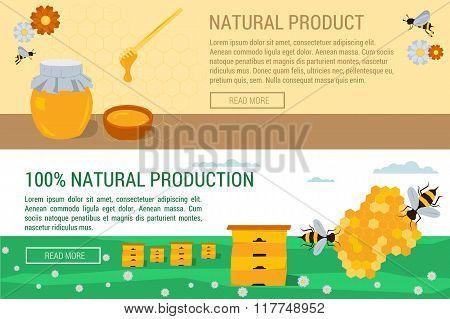 Horizontal Banners Honey Natural Production