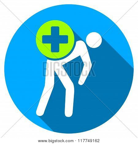 Medication Courier Flat Round Icon with Long Shadow