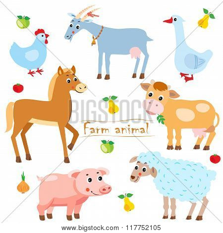 Hen. Goat. Goose. Horse. Cow. Pig. Sheep. Farm Animals. Pets. Animals On A White Background. Vector illustrations.