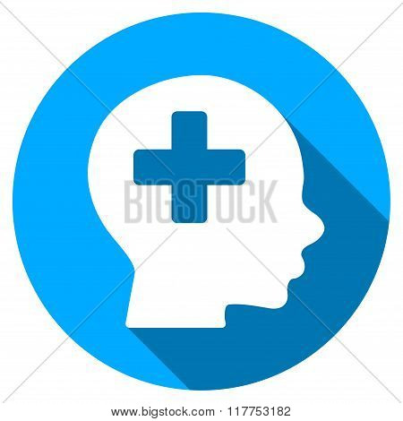 Head Medicine Flat Round Icon With Long Shadow