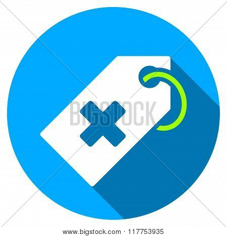 Hospital Tag Flat Round Icon With Long Shadow