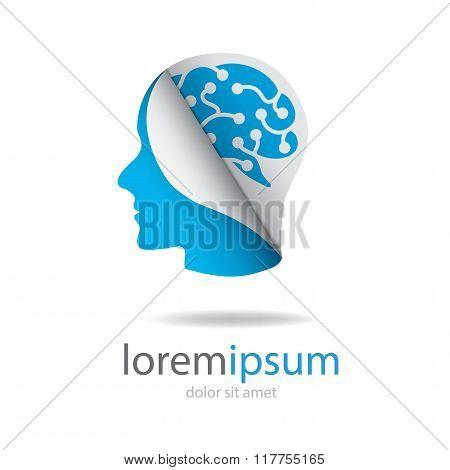 Head With Blue Brain Logo