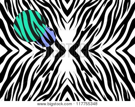 Vector  Illustration   Of Zebra Print On White Background With  Colored Spots.