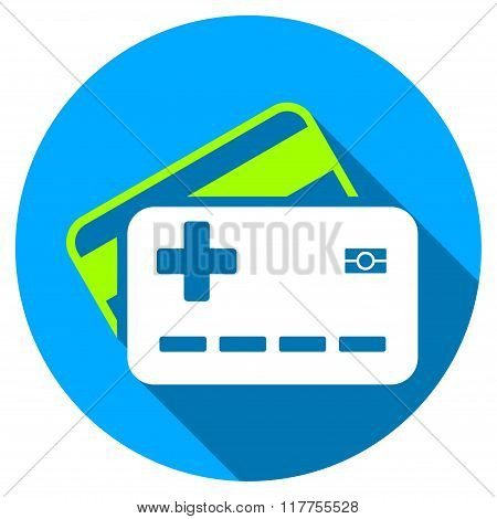 Medical Insurance Cards Flat Round Icon With Long Shadow