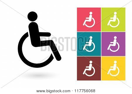 Disabled vector icon or disabled handicap symbol