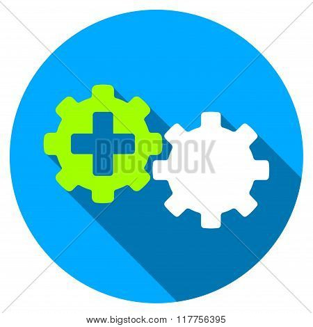 Medical Process Flat Round Icon With Long Shadow
