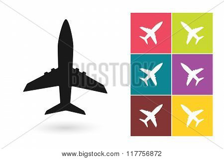 Plane vector icon or airplane symbol