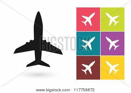 Plane vector icon or airplane symbol