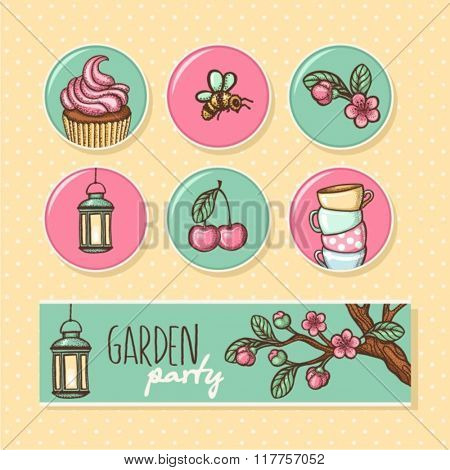 garden party cute collection. vector illustration