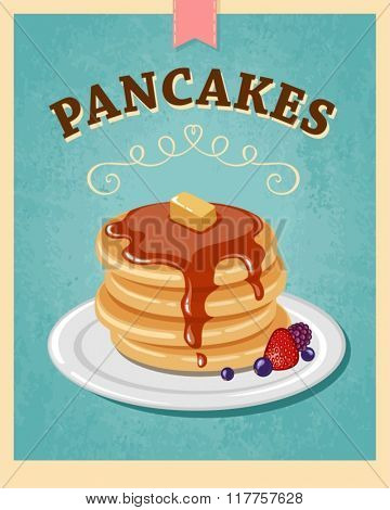 vector vintage styled pancakes poster