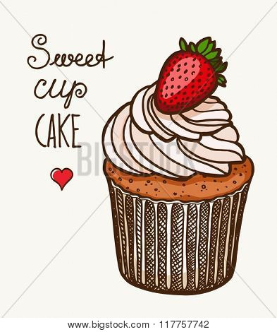Vector Cupcake poster in vintage style with typography elements