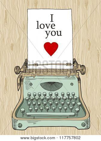 retro typewriter, vintage hand drawn background for Valentine design