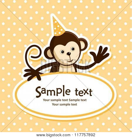 birthday card with cute monkey. vector illustration