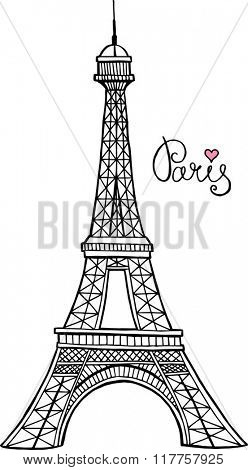 Eiffel tower parisian symbol. Hand drawn vector greeting card.
