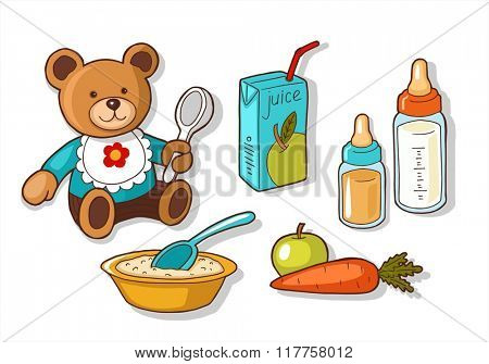 Illustrations of different baby food items.