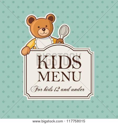 Vintage besign of kids menu with cute bear