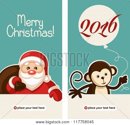 Happy New Year 2016 Greeting Card, vector illustration.