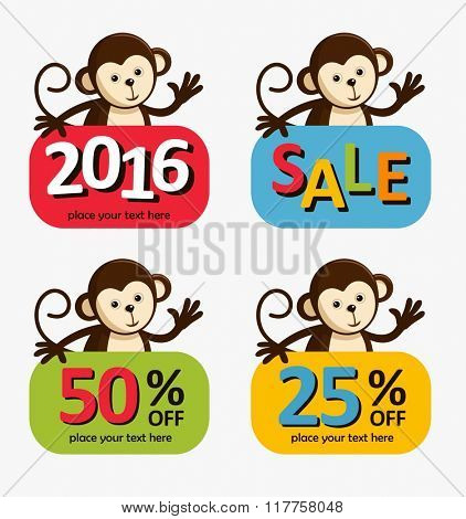 Monkey New Year Big sale background vector