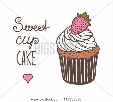vector illustration of Cupcake with strawberry
