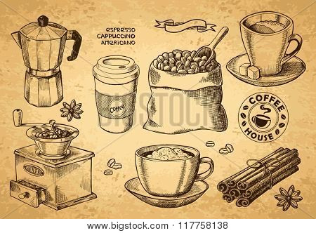 Hand drawn sketch vintage coffee set. Vector illustration. Menu design for cafe and restaurant