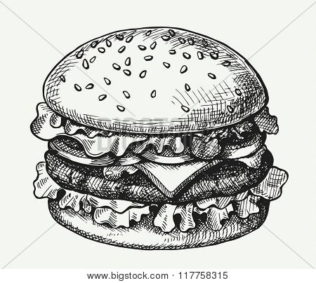 Hand drawn illustration of hamburger.