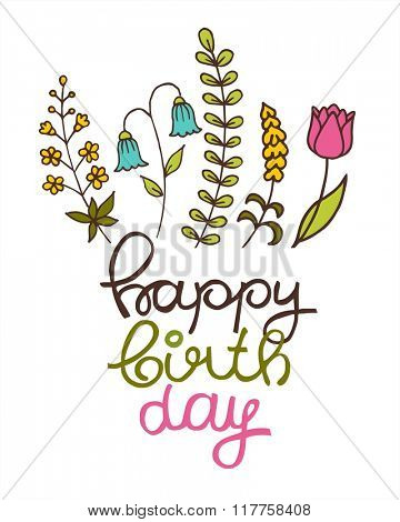 Beautiful happy birthday greeting card with flowers. Vector party invitation with floral elements.