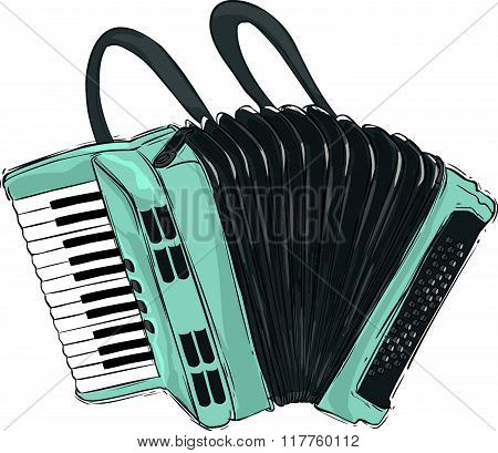 Vector illustration of a accordion illustration. white background.