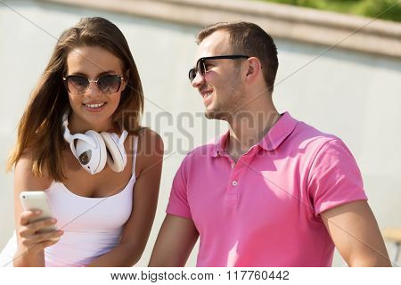 Beautiful couple spending weekend outdoors