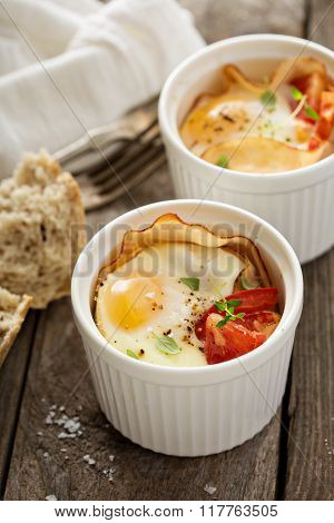 Baked eggs in small ramekin